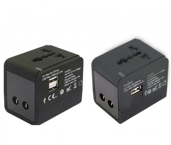 Universal Adapter Multi Functional with Dual USB Port Black