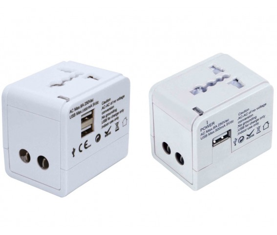 Universal Travel Plug Adapter with Dual USB Port White