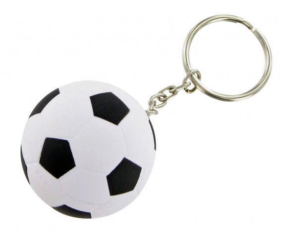 Football Shape Stress Reliever Keyring White n Black