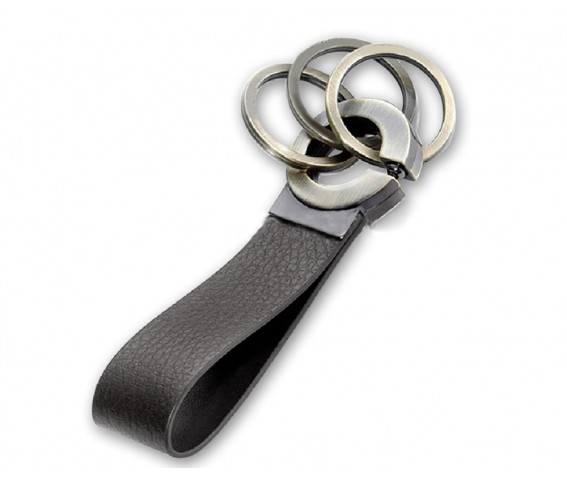 Metal with PU Leather Key ring Black
