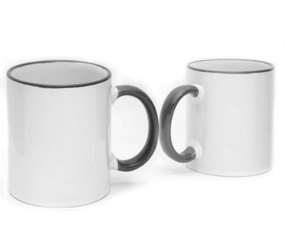 Coffee Mug Ceramic Black Color Rim & Handle  Contour