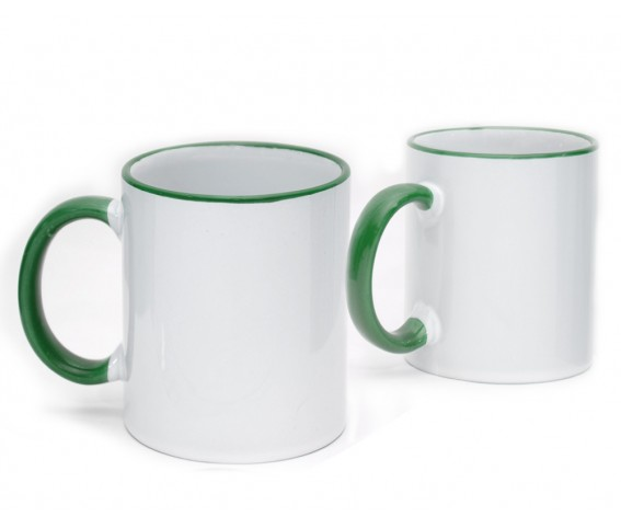 Coffee Mug Ceramic Green Color Rim & Handle