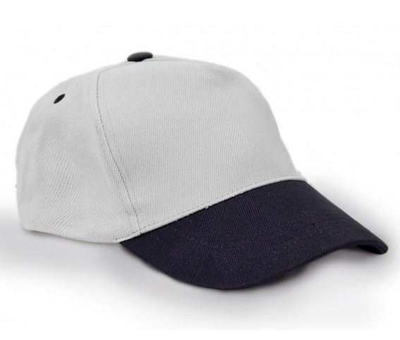 Heavy Brushed Cotton cap 5 panels white & navy blue