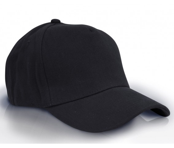Heavy Brushed Cotton Cap 5 Panels Black