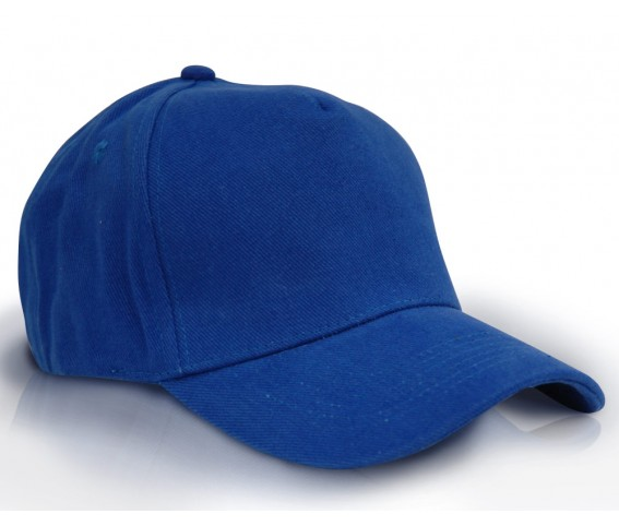 Heavy Brushed Cotton Cap 5 Panels Full Royal Blue