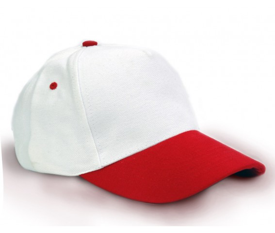 Heavy Brushed Cotton Cap 5 Panels White Red