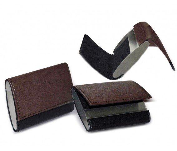 PU Leather Metal Business Card Holder Double Sided