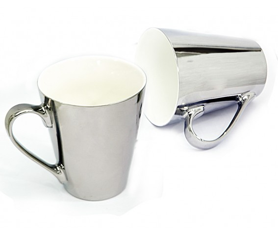 Conical Coffee Mug New Bone China Out  Nickel Plated Inner white