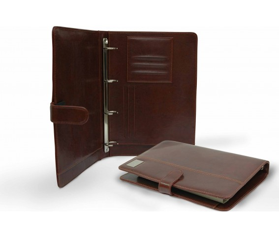 PU Leather A4 Folder with Ring Binder Inside Brown