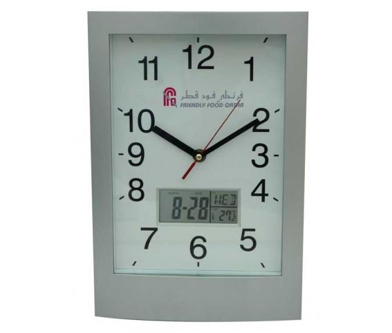 Analog Digital Wall Clock W/Date & Temp