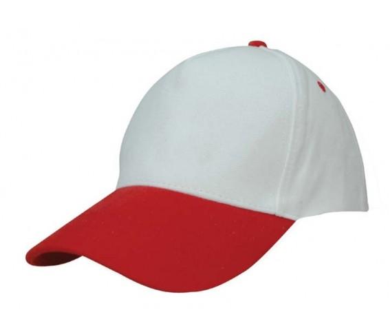 Basic Cotton Cap 5 Panels White & Red