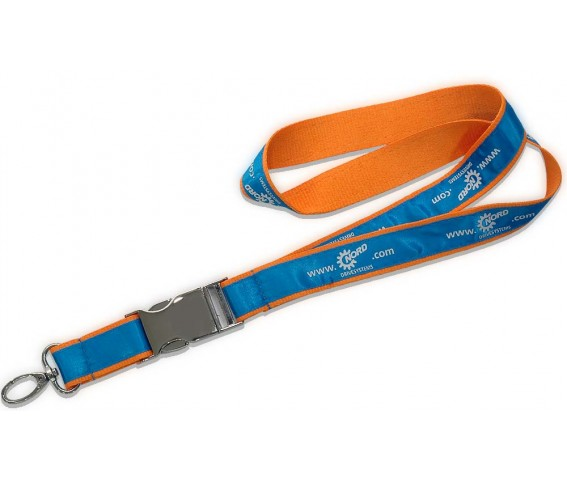 Lanyard Double Layer With Metal Buckle Blue & Orange