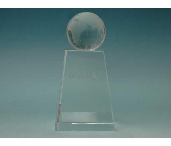 Crystal Block Pyramind Shape with Globe