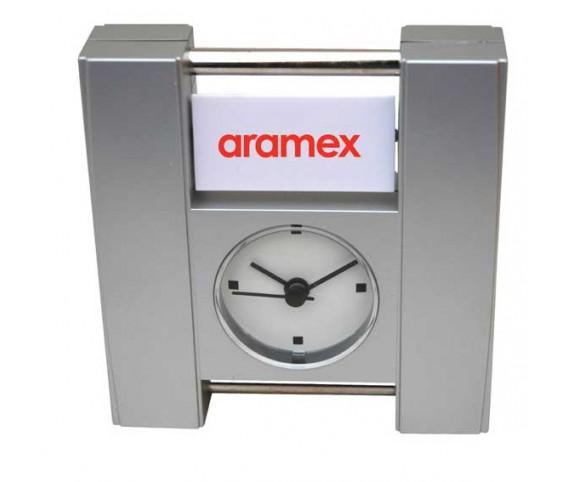DeskTop Clock With Rotating Logo on 3 Sides