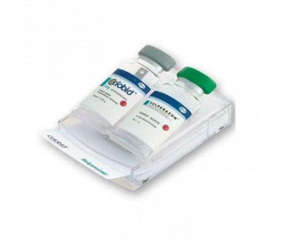 Double vial pop-up memo dispenser