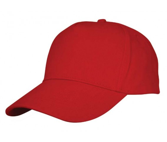 Heavy Brushed Cotton Cap 5 Panels Full Red