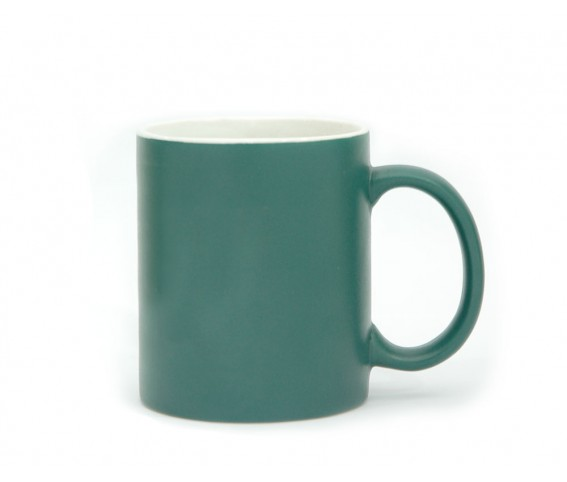 Matte Coffee Mug Ceramic Outer Green Inner White