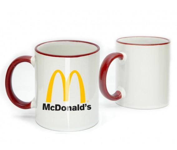 Coffee Mug Ceramic Red Color Rim & Handle with Logo Printing
