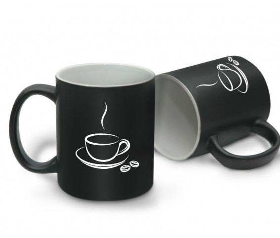 Matte Coffee Mug Black with Inner White with Logo Printing