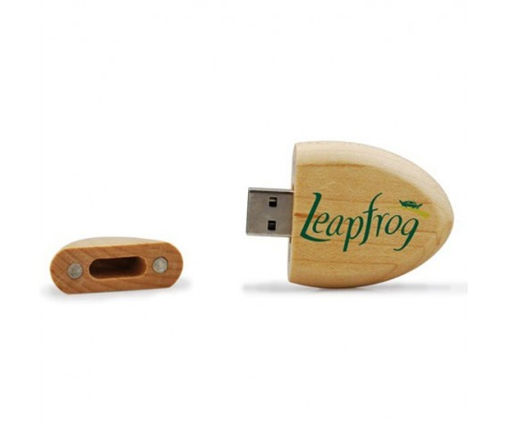 Oval Shape Wooden USB Flash Drive