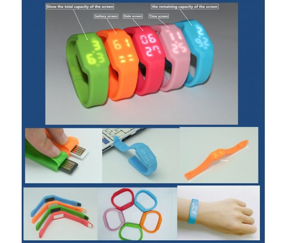 Silicone Wrist Clock USB Flash Drive