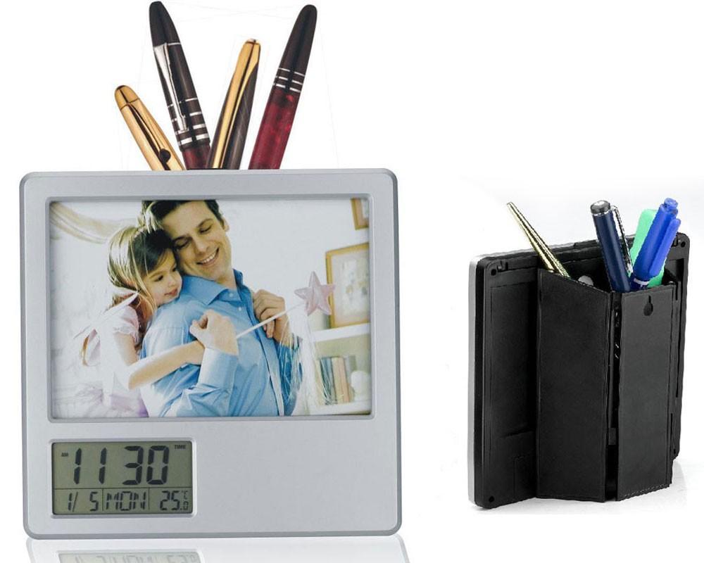 Desk Photo Frame With Digital Display Clock Pen Holder