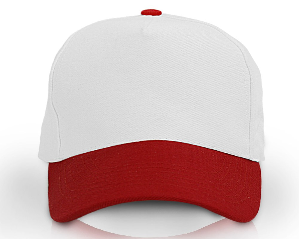 Heavy Brushed Cotton Cap 5 Panels White Red af85c7effe8