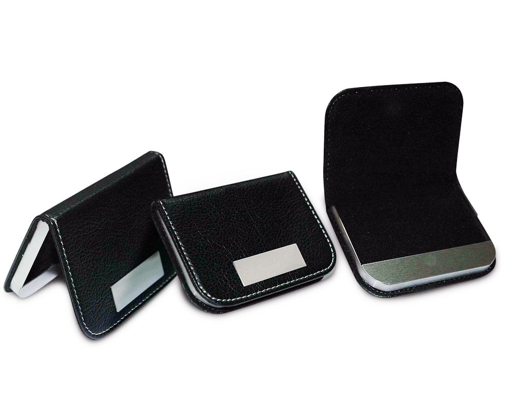 Metal Pu Leather Business Card Holder Black