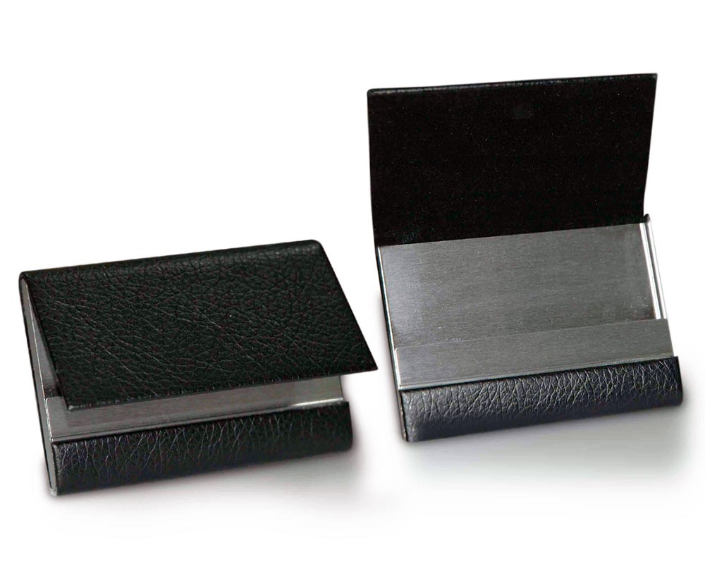 Leather & Metal Folding Business Card Holder Black | Name Card ...