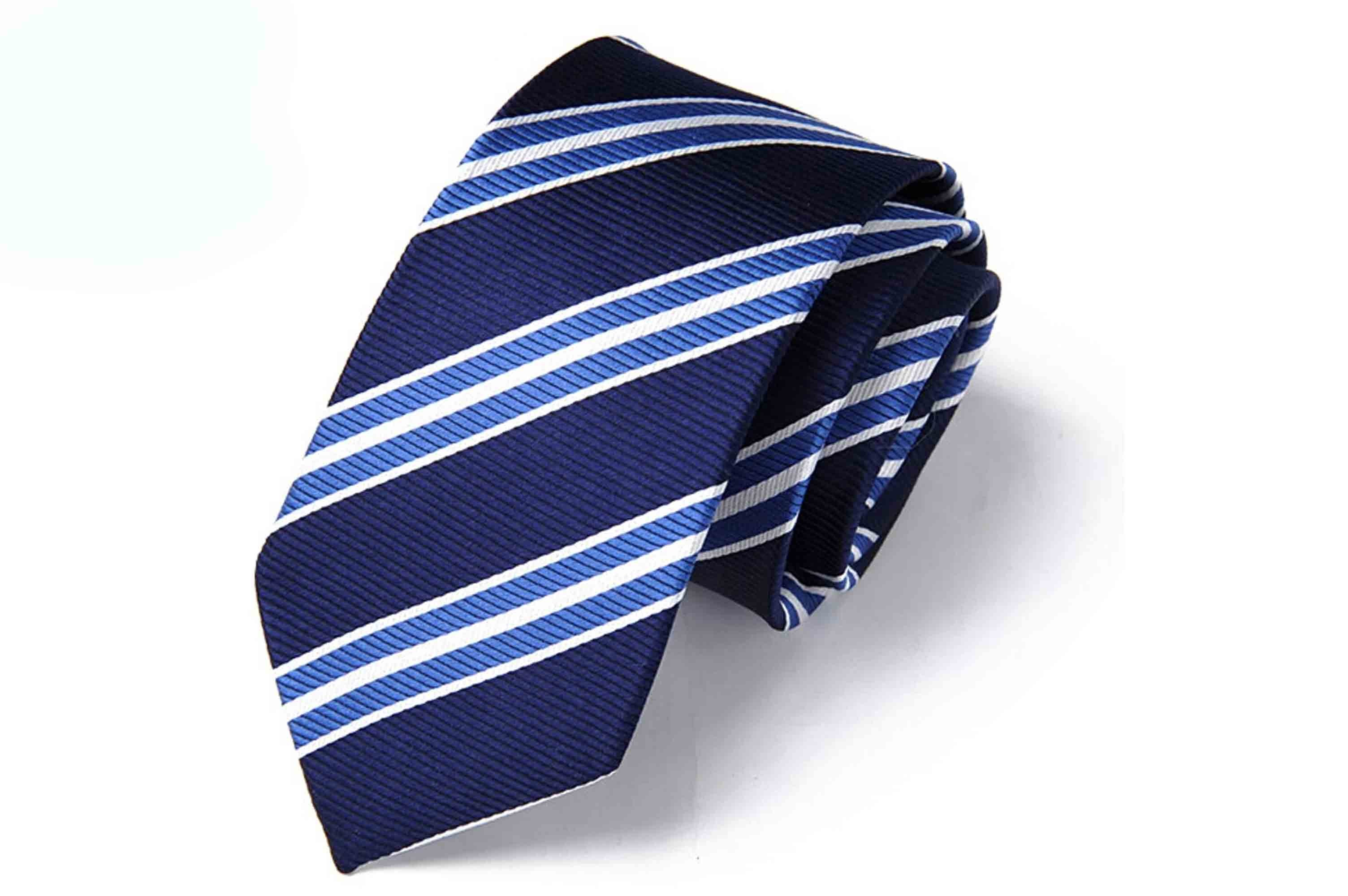 58272fb295d5 Silk Tie Dark Blue Color with Light Blue Stripes | Regular Neck Ties ...
