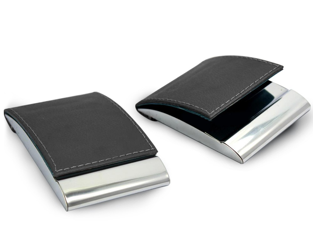 business card holder pu leather n metal foldable - Leather Business Card Holder