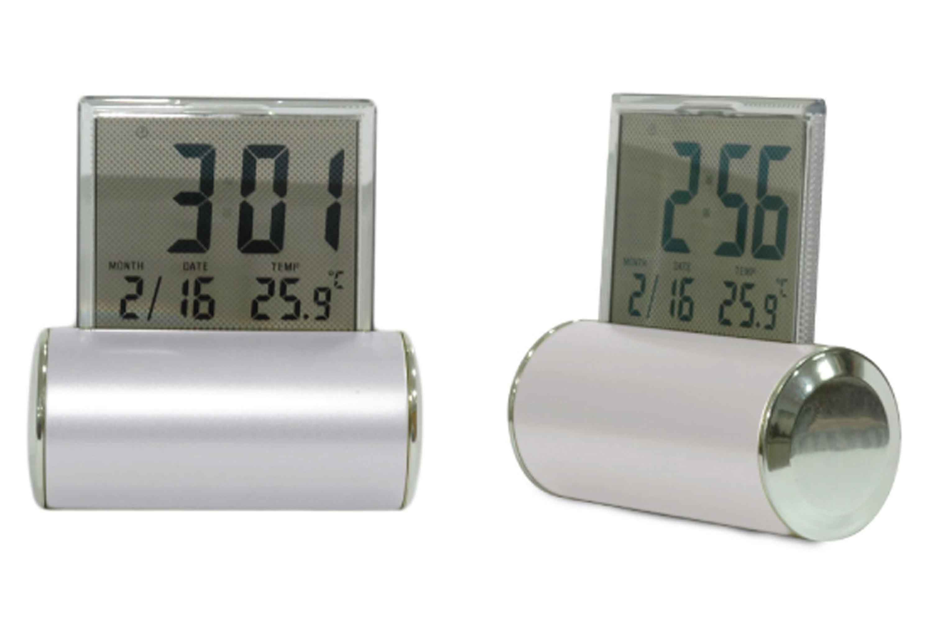 Digital Desk Clock Sliver With Perpetual Calendar Temperature