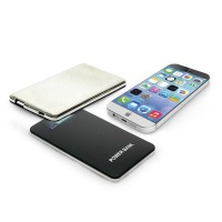 Promotional Slim Power bank touch Screen with Stainless Steel  4000 MAh Black Color Wholesale