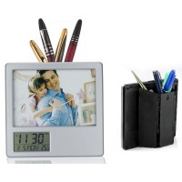 Desk Photo frame with Digital Display Clock & Pen Holder