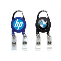 Double Carabiner Retractable Reel Badge Holder with Logo Printing