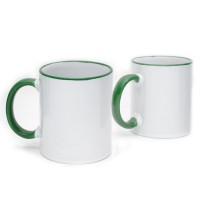 Coffee Mug Ceramic Green Color Rim & Handle