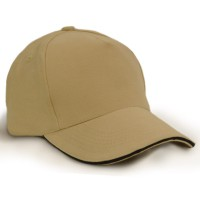Heavy Brushed Cotton Cap 5 Panels - Full Khaki with Black Sandwich