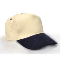 Heavy Brushed Cotton Cap 5 Panels Off White Navy Blue