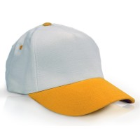 Heavy Brushed Cotton Cap 5 Panels White Yellow