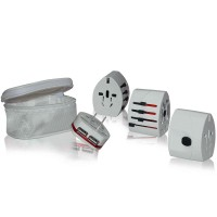 World Travel Plug Adapter with Dual USB Interface White