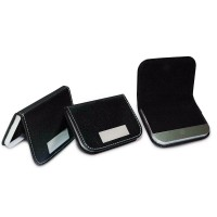 Metal & PU Leather Business Card Holder Black