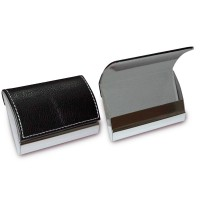 Pu Leather Classic Metal Name/ Business Card Holder Black