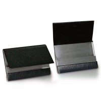 Leather & Metal Folding Business Card Holder Black