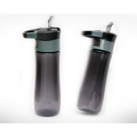 BPA Free Sport Water Bottle 550 ml with Handle & Switch Button Black
