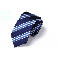Silk Tie Dark Blue Color with Light Blue Stripes