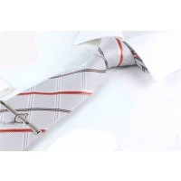 Silk Tie for Men Orange & Grey Stripes