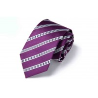 Silk Tie for Men Purple Color with Stripes