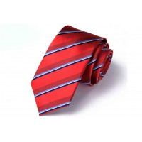Silk Tie Red with Stripes
