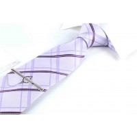 Silk Tie Light Purple with Stripes for men