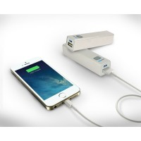 Metal Power bank with 2200 MAh Sliver Color Portable